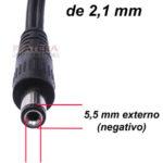 Conector p4 2,1mm x 5,5mm x 15mm loja propagação aberta 01