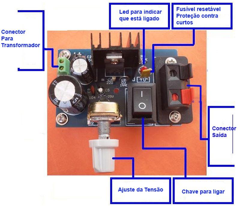 kit para montar montagem fonte ajustável regulável bancada llm317 2n5551 propagação aberta 7